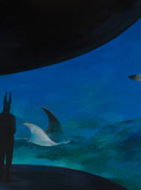 """Joanna Karpowicz """"Anubis i raje"""", 80 x 130 cm, akryl na płótnie, 2016"""